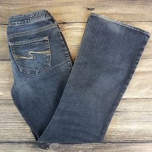 SILVER JEANS AIKO BOOT CUT LOW RISE BLUE JEANS